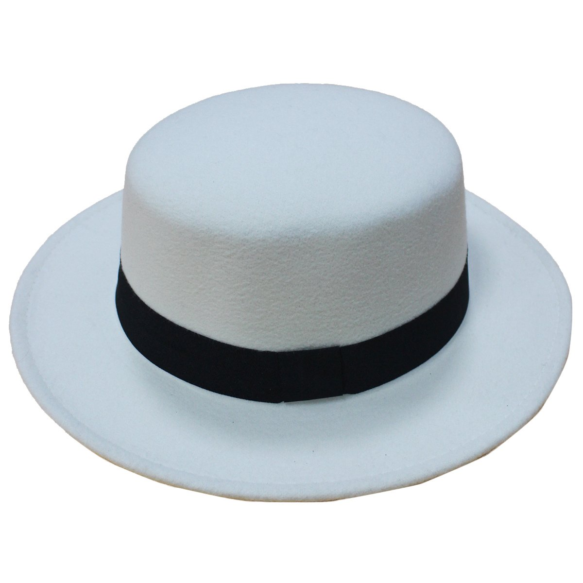 NE Norboe Norboe Women's Brim Fedora Wool Flat Top Hat Church Derby Bowknot Cap (White)