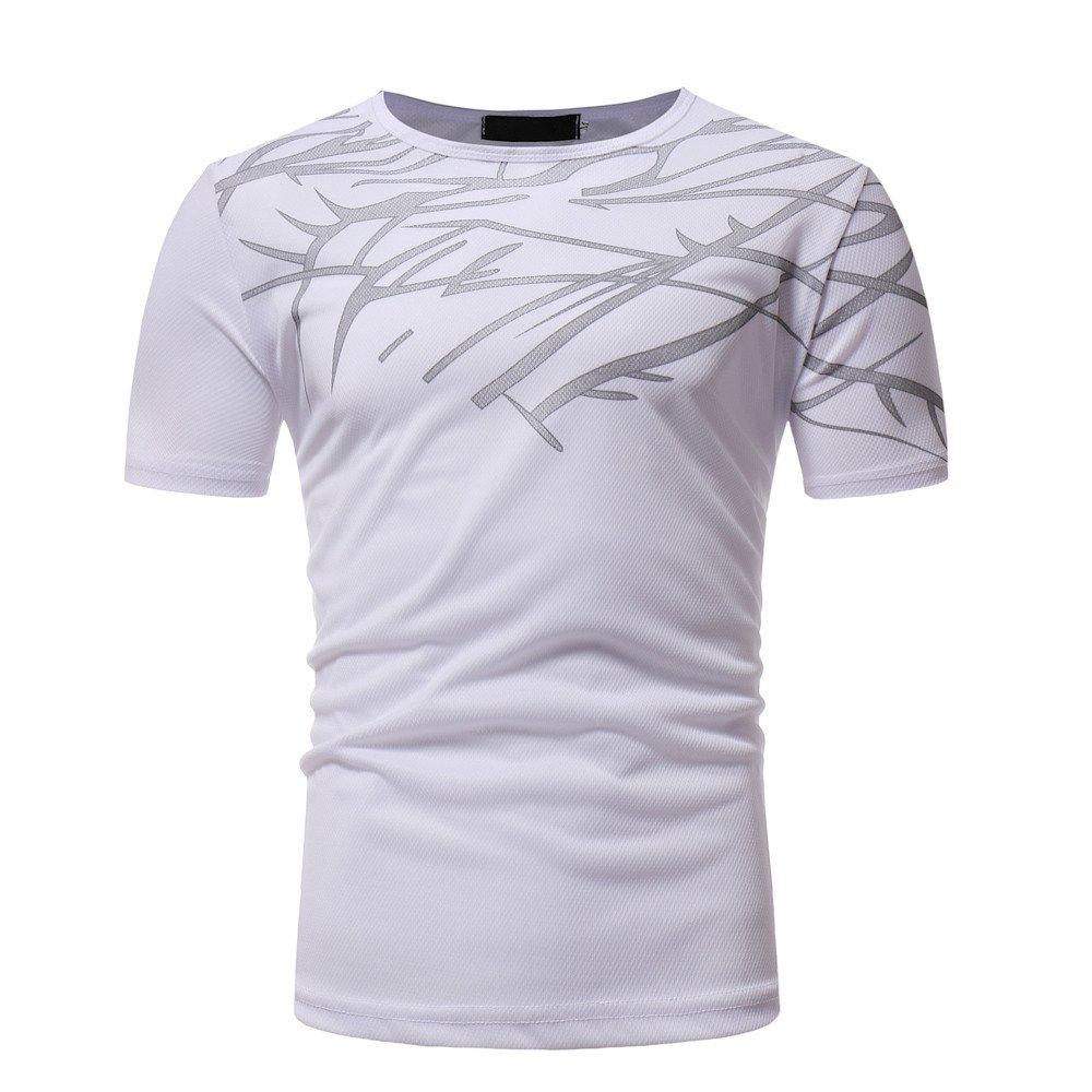 HTDBKDBK Tops T-Shirt for Man Men Summer Top Casual Printing Men's Short Sleeved T-Shirt Blouse White