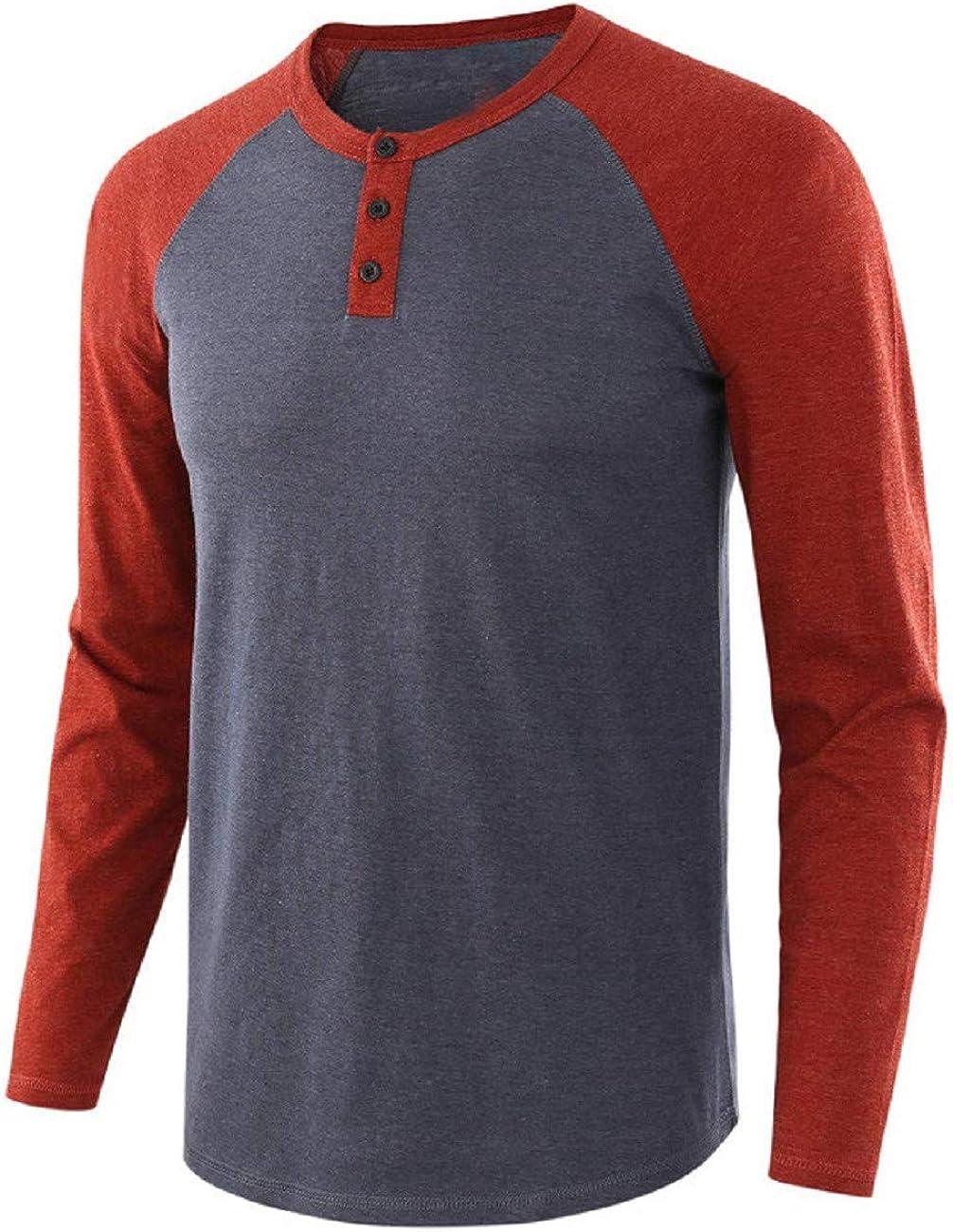 FAPIZI Mens Casual Vintage Long Sleeve Raglan Henley Shirts Baseball T-Shirt Hipster T Shirts Slim Fit Muscle Pullover