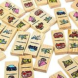 Domino Game for Kids Transport - Wooden Dominos Set…