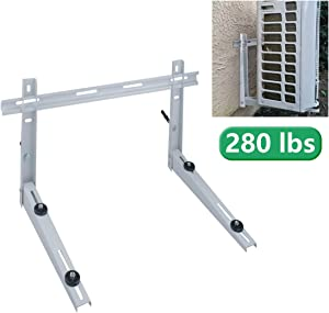 Forestchill Wall Mounted Bracket with Cross Bar, fits Mini-Split Ductless Outdoor AC Units,Heat Pump System, Condenser, Universal, Support up to 280lbs, 7000-15000BTU