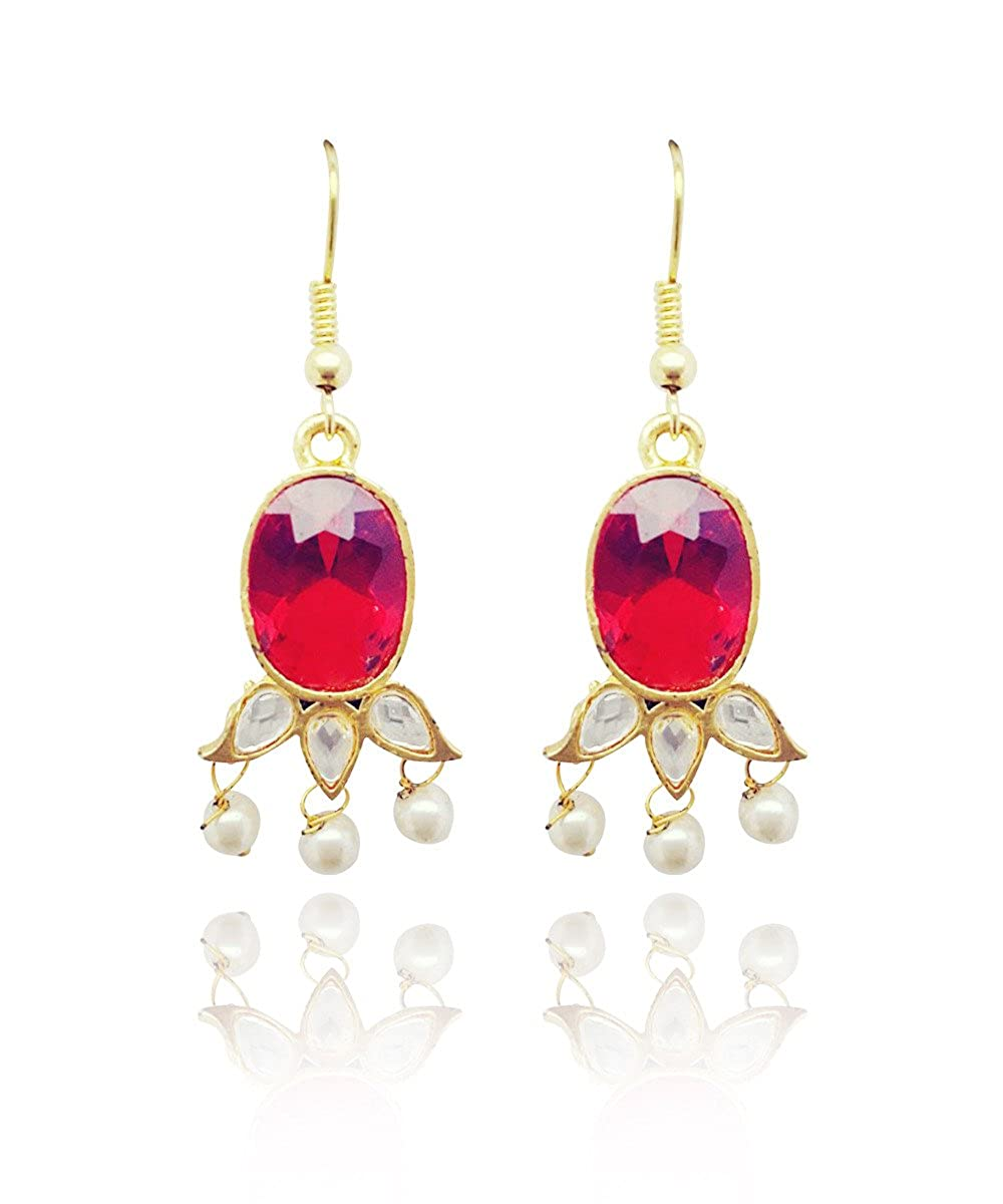 Red Moonstruck Pearl Drop Dangler Earring For Women Girls