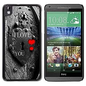 TopCaseStore / la caja del caucho duro de la cubierta de protección de la piel - I Love You Lock - HTC DESIRE 816