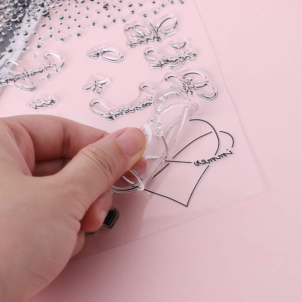 Kalttoy Cuore Stellato DIY Silicone Clear Stamp Cling Seal Scrapbook Embossing Album D/écor