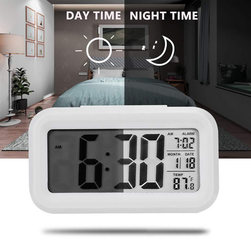 Blue Digital Alarm Clock Large Display Led Temperature Display Loud Calendar Function Snooze Timepiece