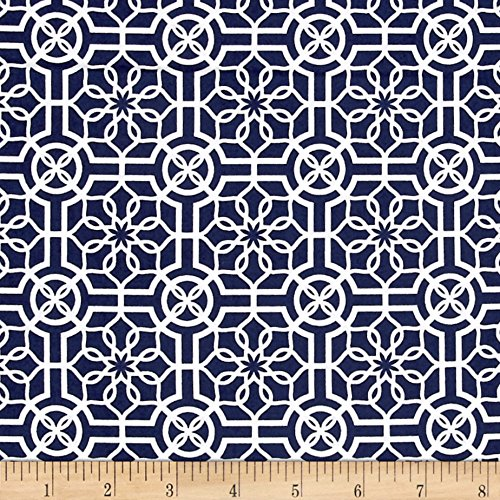 Bahama Breeze Trendy Trellis Navy/White Fabric By The Yard