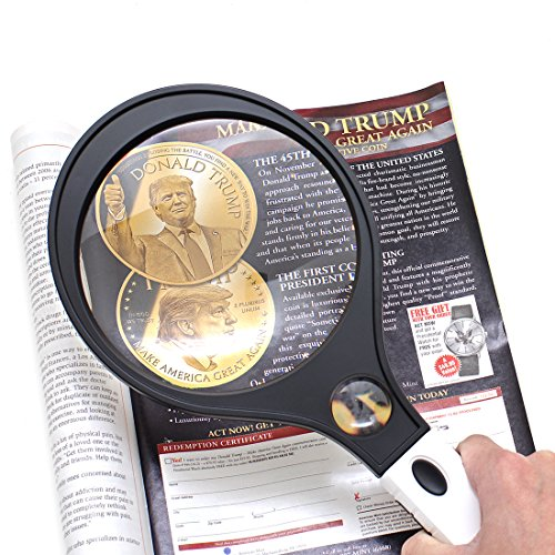 IMZ Jumbo Magnifying Glass, 3X Lens 10X Zoom 5.5-Inch Extra Large Lighted Magnifier, Racket Style for Senior Reading Book, Currency Detecting, Inspection, Coins, Insects, - Style Eyeglass
