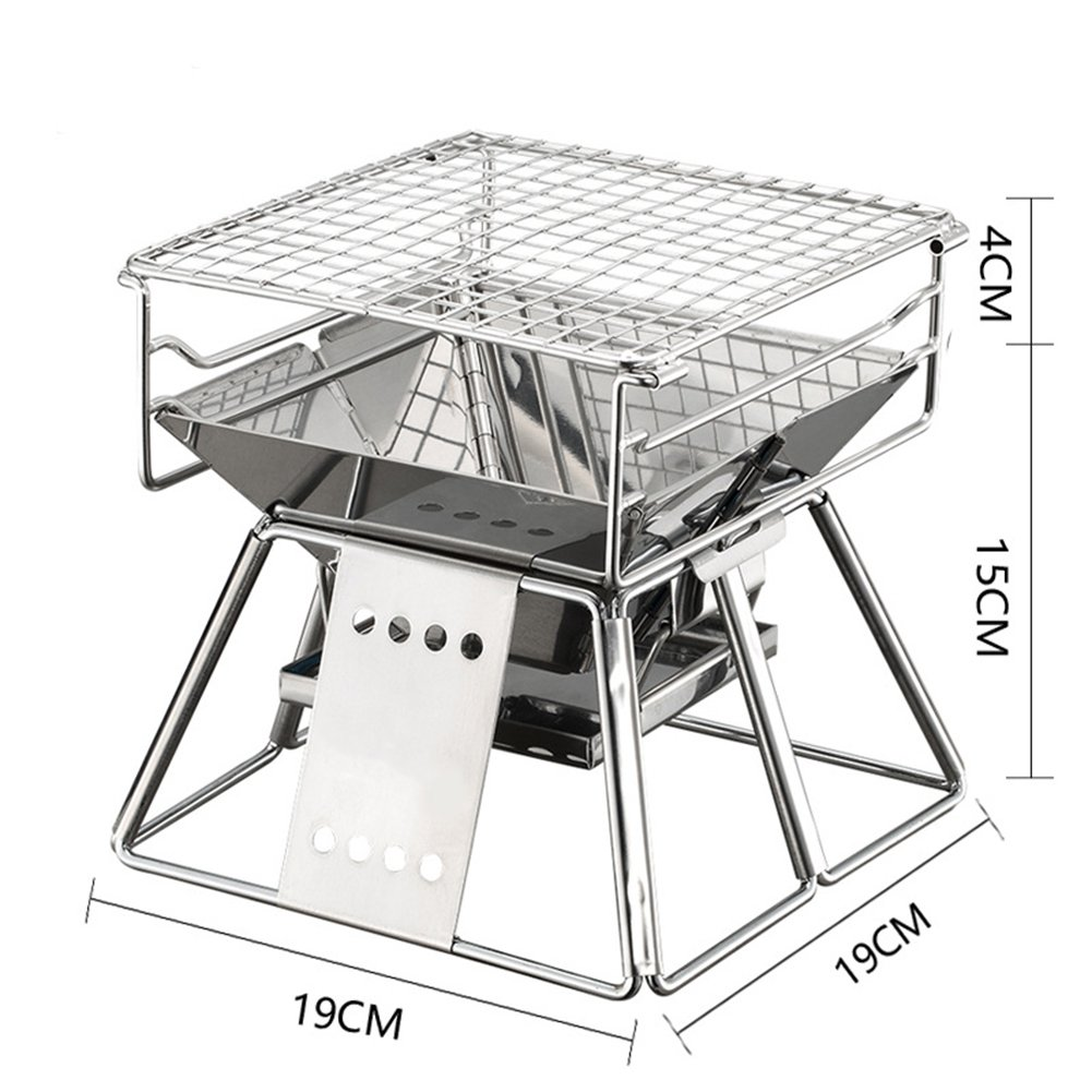 Amyove Portable Stainless Steel BBQ Oven Set,BBQ Grill for Outdoor Small Barbecue