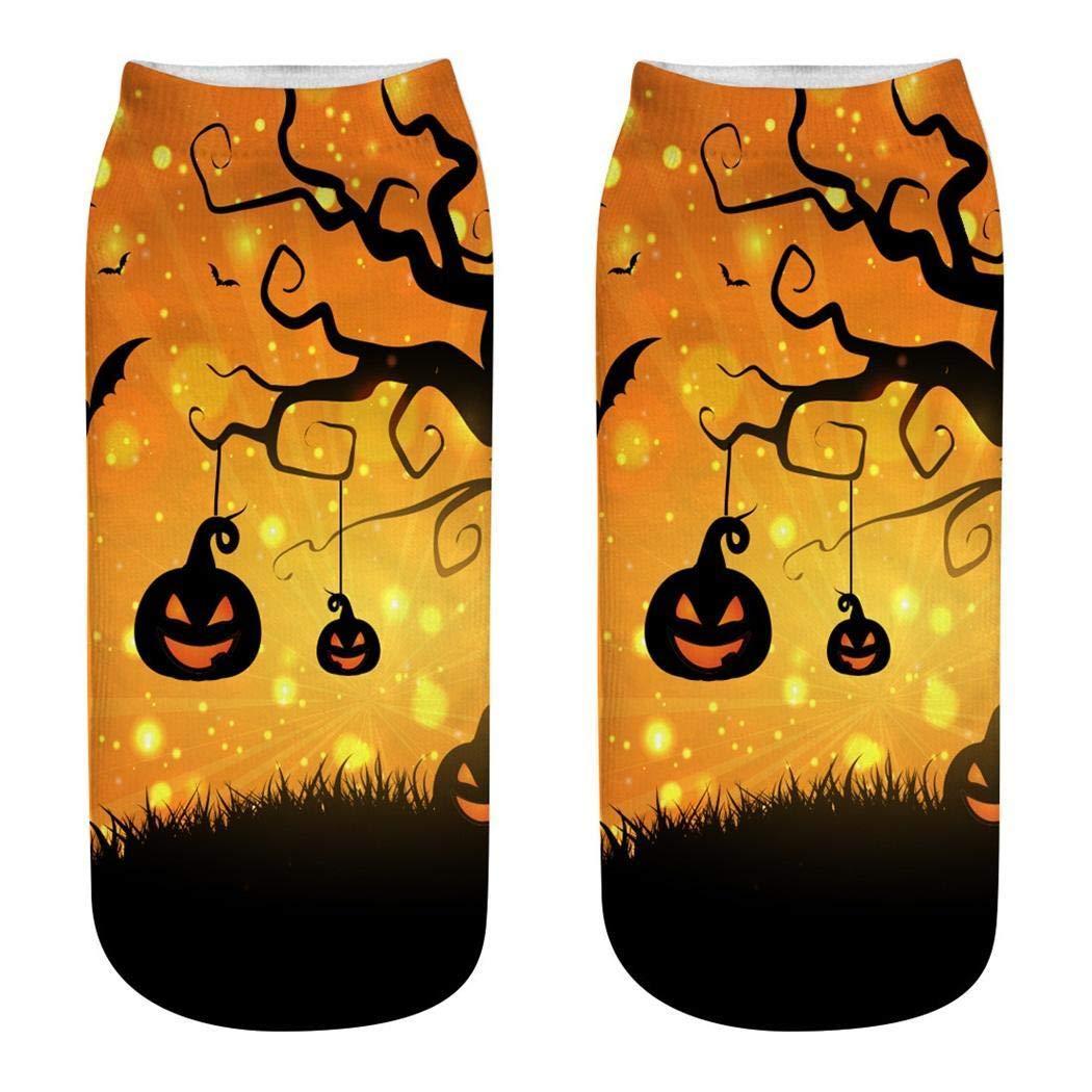 Ankidz Women Men Digital Printing Halloween Pattern Short Elastic Socks Socks