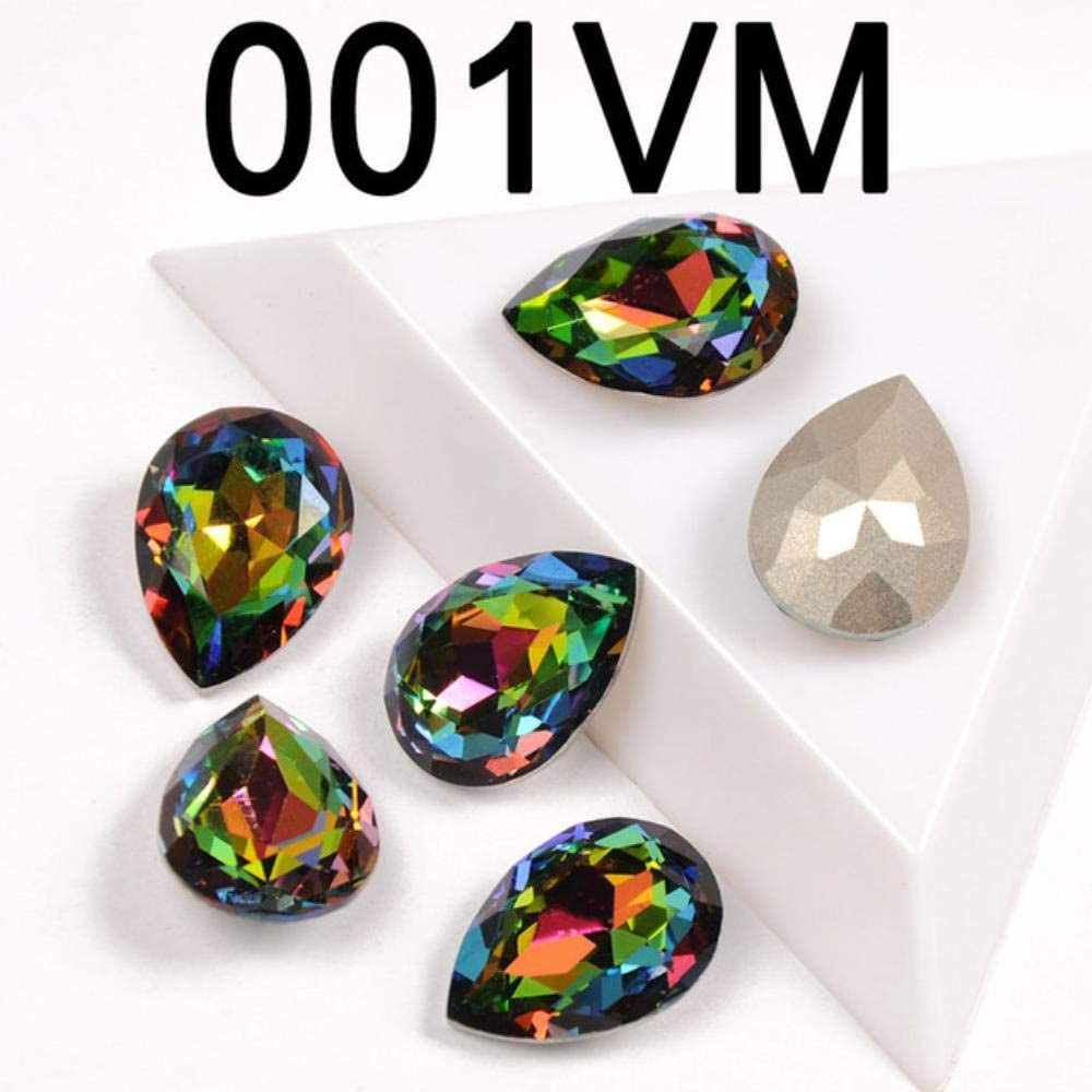 PENVEAT Diamantes de imitación de Vidrio con Garra Coser en lágrima Cristal Piedra Strass Diamante Base de Metal Hebilla Decoración de Boda DIY, Vitrail Medio, 6x8mm-21pcs