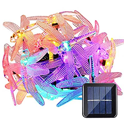 LUCKLED Dragonfly Solar String Lights, 16ft 20LED Christmas Fairy Garden Lights for Outdoor, Home, Lawn, Patio, Easter, Party and Holiday Decorations (Multi-Color)