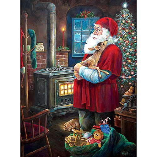 Bits and Pieces - 300 Piece Jigsaw Puzzle for Adults - Santa and Fawn - 300 pc Christmas Holiday Winter Jigsaw by Artist Ruane Manning