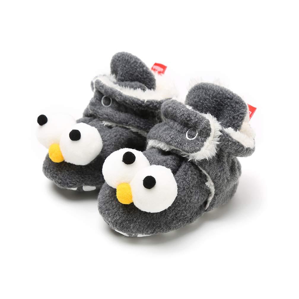 TMEOG Unisex-Baby Neugeborenes Fleece Booties Bio Baumwoll-Futter und rutschfeste Greifer Winterschuhe