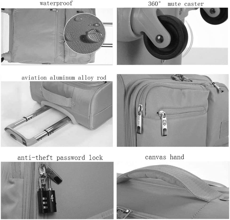 Color : Black, Size : 20 inch BFZJ suitcases 20 Inchs//24 Inches//28 Inches Expandable Spinner Suitcase,Universal Wheel Luggage Soft Box Oxford Cloth Student Pull Box Trolley Case