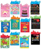 Birthday Party Gift Bags Set of 12 Large Gift Bags w/ Glitter, Tags, Stars, Stripes and Spots Design, and Tissue Paper for Kids, Girls, Boys, Women, Men
