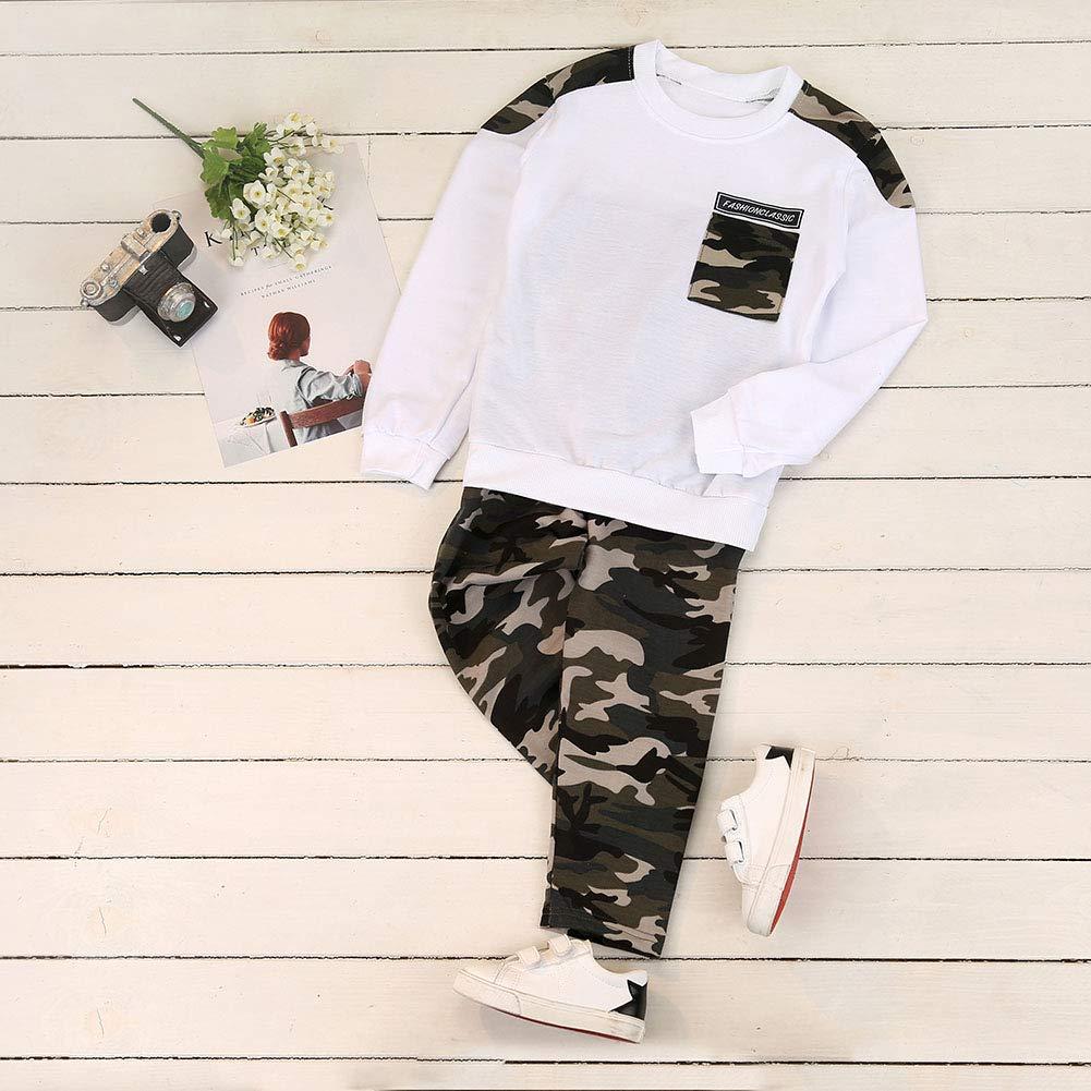dise/ño de Camuflaje Conjunto de Camisetas y Pantalones de Manga Larga para beb/é Hankyky Autumn