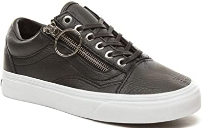 Vans Old Skool Zip Schwarz Weib Damen Leder Trainers: Amazon.de ...
