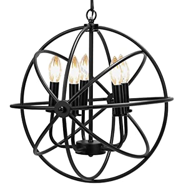 VIVOHOME 5-Light Ceiling Chandelier, Modern Farmhouse Light Fixture, Black