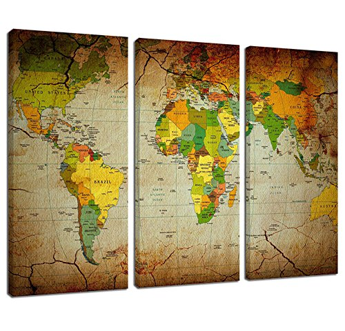 Ardemy Wall Art Canvas Painting Retro Abstract World Maps Picture Prints on Canvas Wooden Framed 3 Pieces/Set , Large Size Artwork for Living Room Bedroom Home and Office Decor