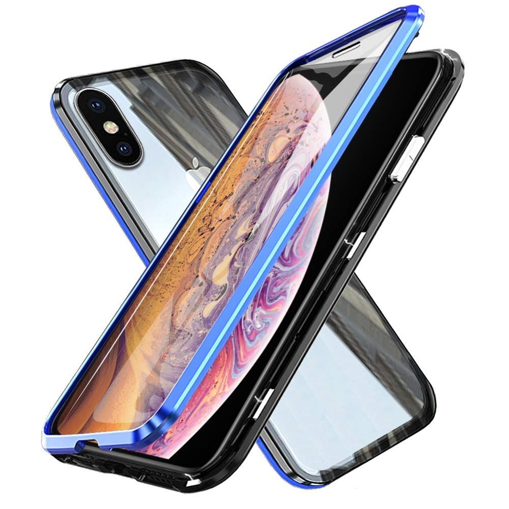 Oihxsetx Compatible for iPhone 11 Pro 5.8'' Magnetic Adsorption Double Side Tempered Glass Case,Ultra-Thin Magnetic Metal Frame Full Body Protection Cover Support Wireless Charging - Black Blue by Oihxsetx
