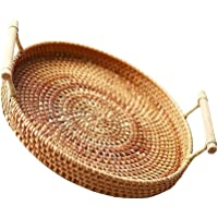 Cabilock Round Rattan Woven Serving Tray with Handles Wicker Ottoman Tray Coffee Trays Serving Platter Basket for Coffee…