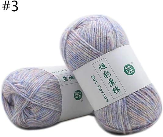 Manyo - Ovillo de lana para tejer 100 g, suave algodón, lana, pompón, lana, multicolor azul claro: Amazon.es: Hogar