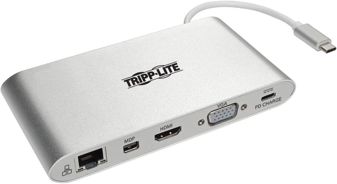 Tripp Lite USB 3.1 Gen 1 USB-C Docking Station w/ USB-A, HDMI, VGA, mDP, Gigabit Ethernet, Mem Card, 3.5mm & USB-C PD Charging, USB C, USB Type C, USB Type-C (U442-DOCK1)