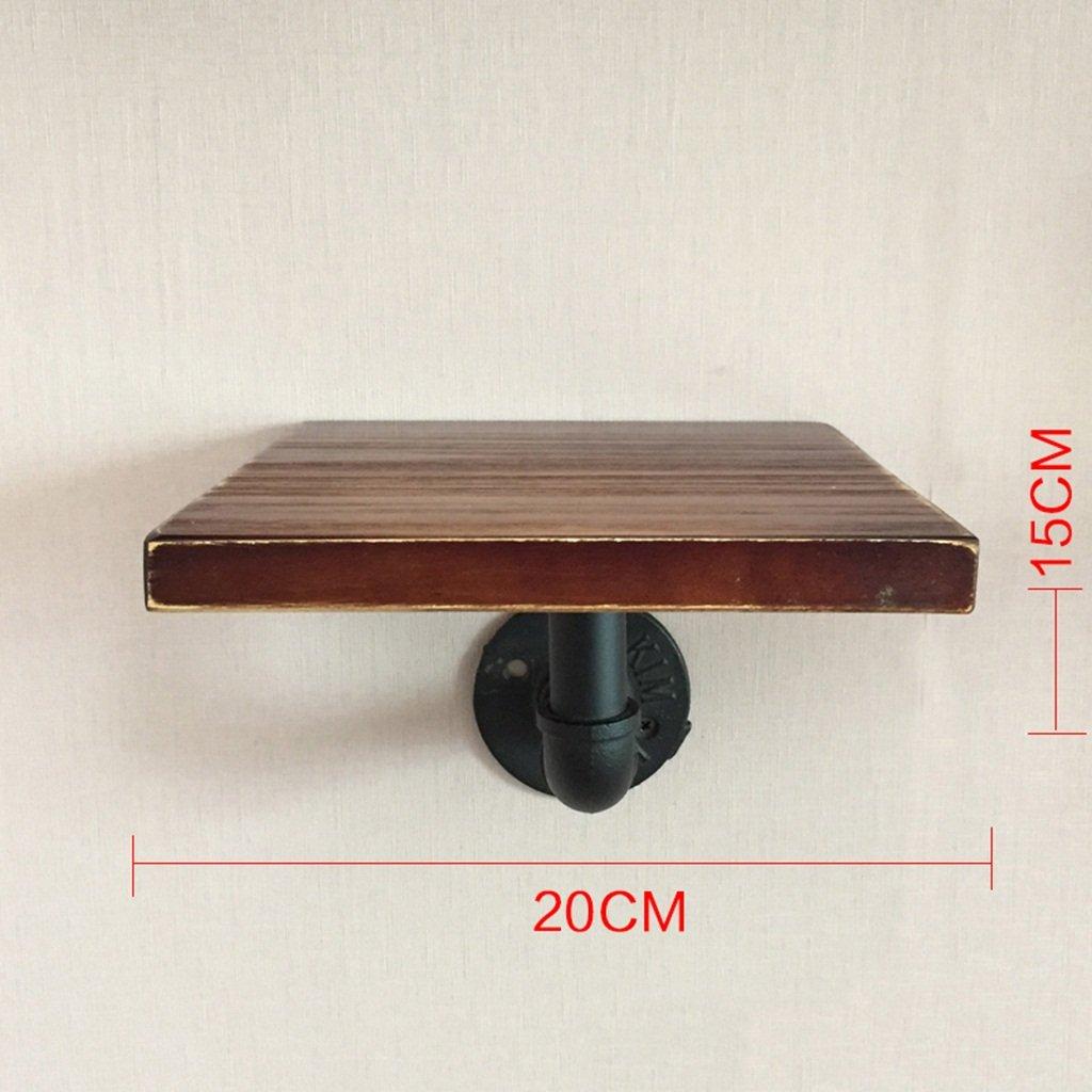 ALUS- LOFT Retro Industrial Style Water Pipe Shelf, Iron Bookshelf, Wall Solid Wood Shelf Creative Corner Shelf (Size : 202015cm)