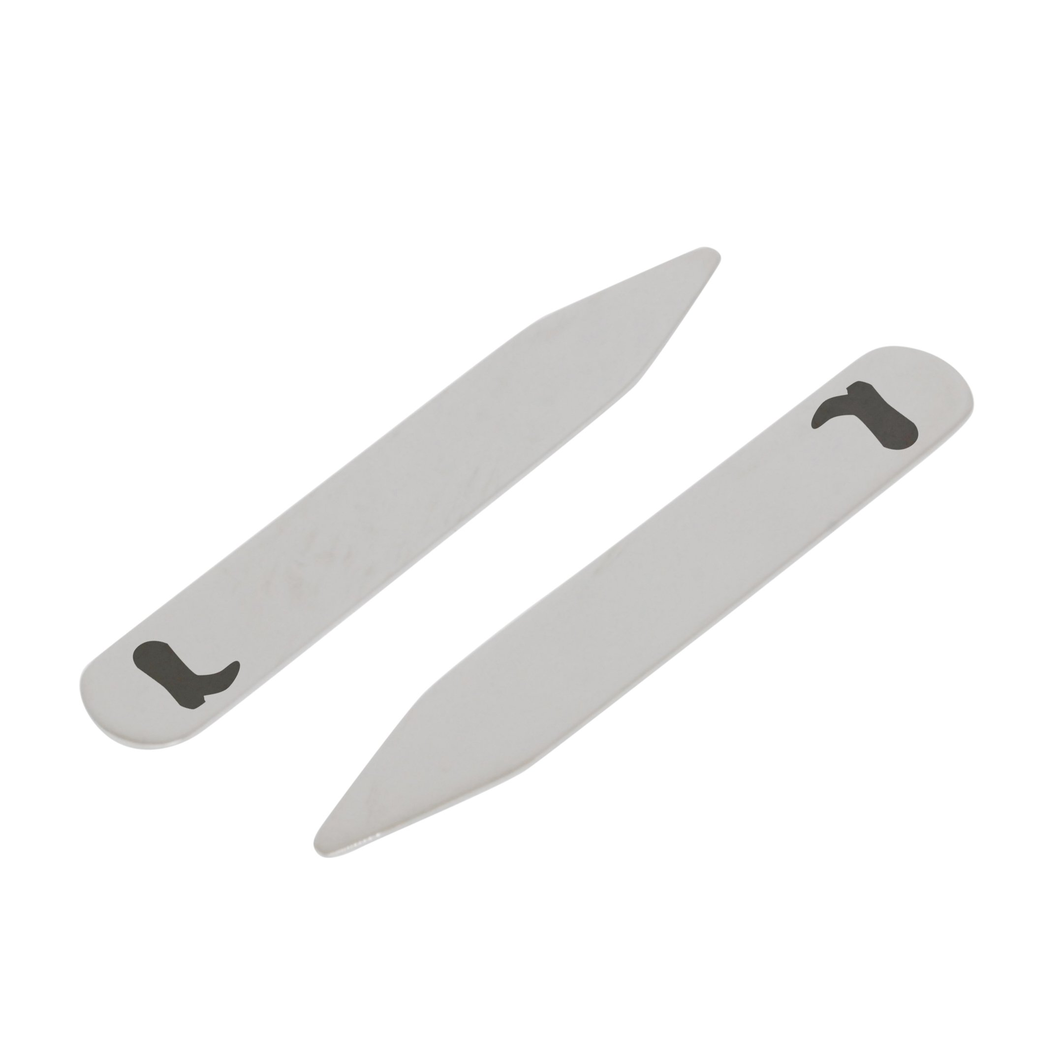 MODERN GOODS SHOP Stainless Steel Collar Stays With Laser Engraved Cowgirl Boot Design - 2.5 Inch Metal Collar Stiffeners - Made In USA