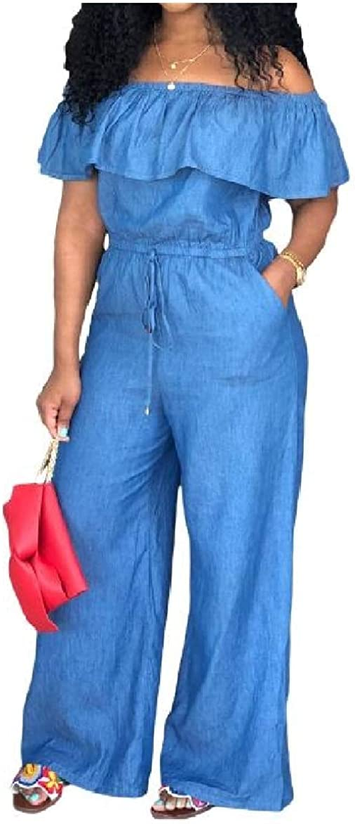 Abetteric Womens Ruffled Lace-up Loose Off-Shoulder Wide Legs Jumpsuit Trousers