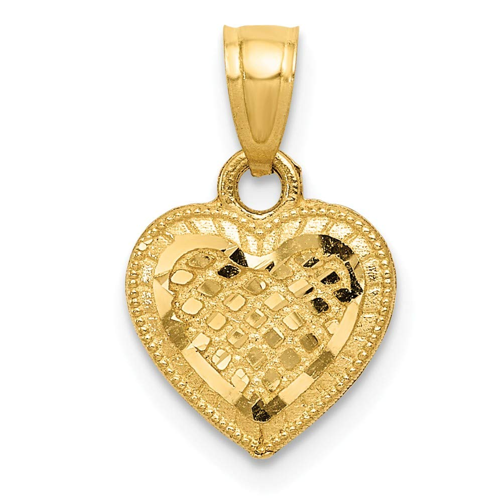 Mia Diamonds 14k Yellow Gold Diamond-cut Lattice Heart Pendant