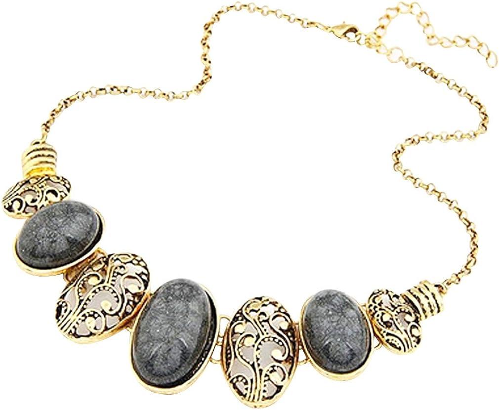 Yazilind Collier ras-du-cou plaqu/é or et noir de style ethnique avec pierres ovales