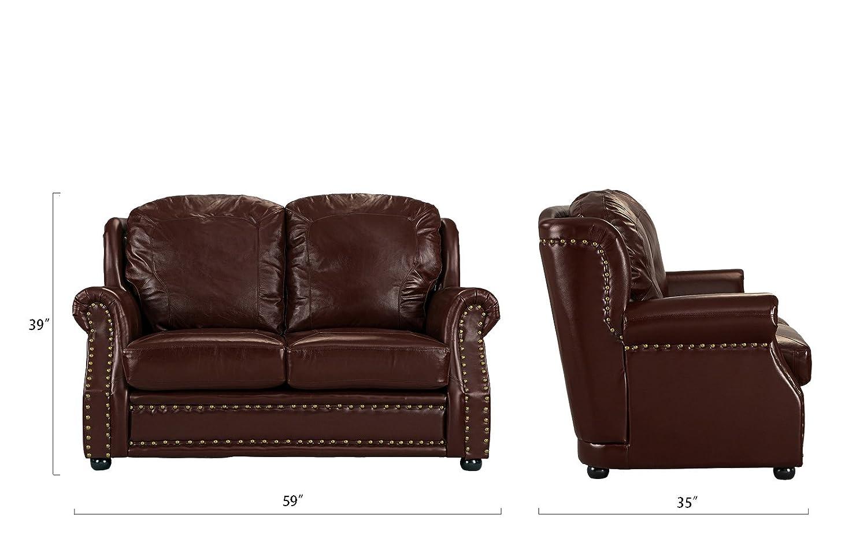 Amazon.com: Sofá de piel a juego de 2 plazas, salón sofá con ...