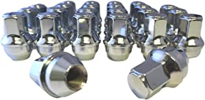 Set of 24 Eisen 14x1.5mm One-Piece Chrome OEM Factory Style Large Lug Nuts for 2015-2020 Ford F-150 F150 Expedition Lincoln Navigator Factory Stock Wheels