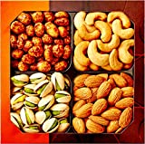 Five Star Gift Baskets Holiday Gift Basket, Gourmet Food Nuts, 4 Different Delicious Nuts, Five Star Gift Baskets