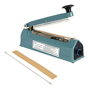 "PrimeTrendz Hand Impulse Sealer Heat Seal Machine Poly Sealing With Element Grip and Teflon 12"" (Inch)"
