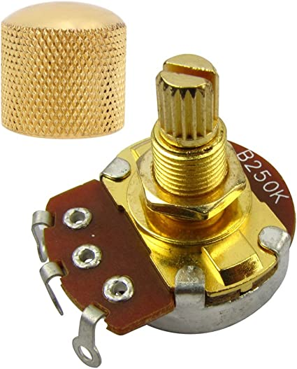 Amazon Com Guitar Potentiometer Pot And Knob A Or B Full Size Alpha Volume Tone Control Knob Pot Push Pull Gold Long 18mm Shaft B250k Musical Instruments