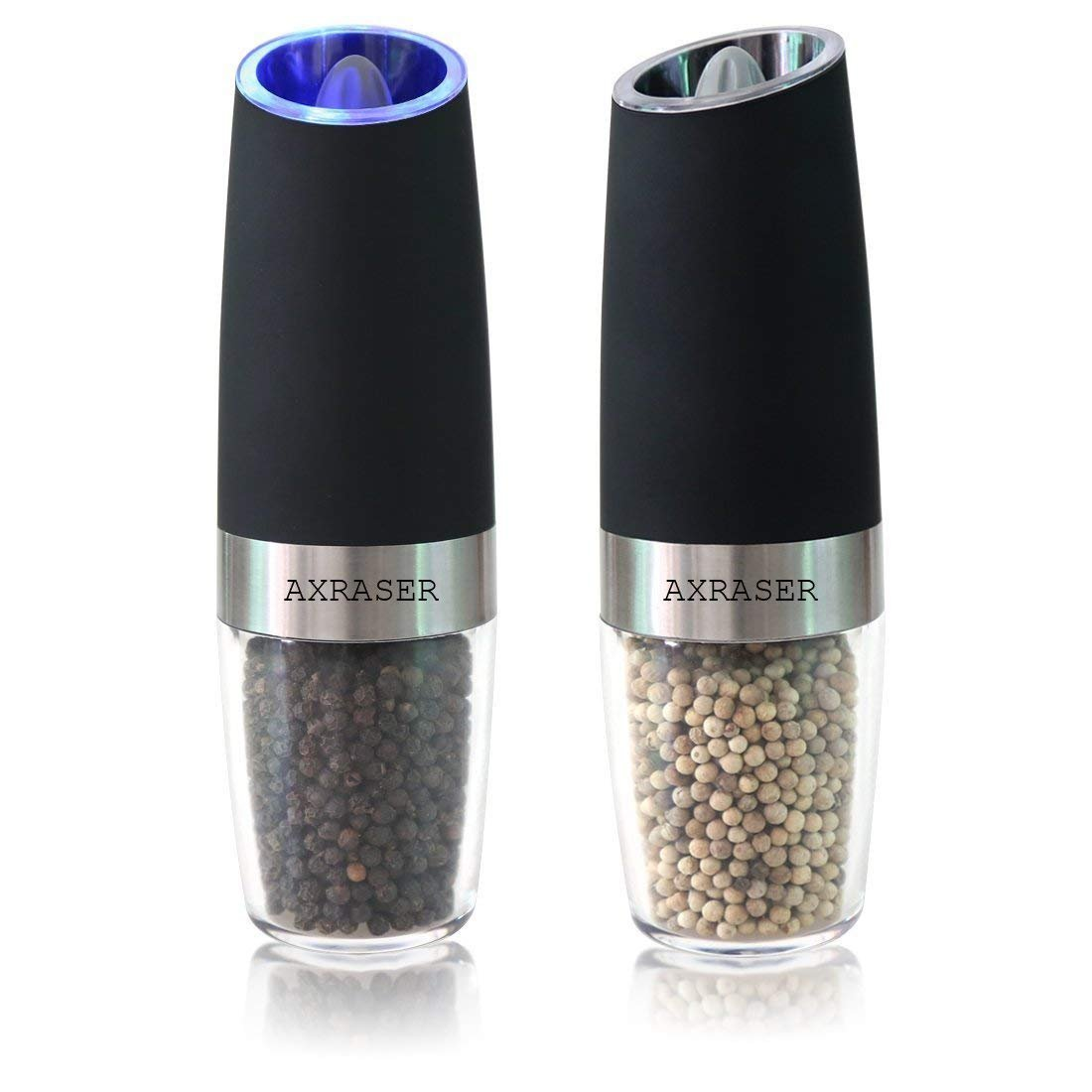 Axraser Gravity Electric Salt and Pepper Grinder Set of 2 - Automatic Operation, Battery Powered, Blue LED Light - Adjustable Ceramic Grinding Coarseness Mills with Free Garlic Peeler, Matte Black