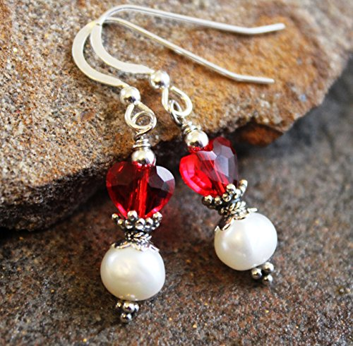 (Red Heart & White Pearl Earrings Sterling Silver)