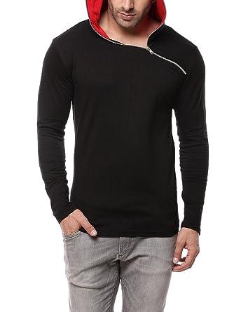 Gritstones Black/Red Full Sleeve Hooded T Shirt GSFSHDZIP1291BLKRD ...