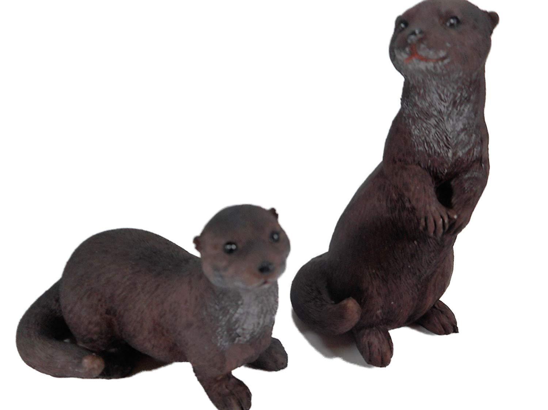 2er Set Otter je 6 x 5 cm Seeotter Marder Tier Figur Deko Garten GG ...
