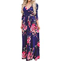 JietaodianziAU Dress 3/4 Sleeve V-Neck Maxi Long Dress Casual Floral Dresses with Belt Women's, Fashion Dress for Women