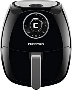 Chefman 6.5 Liter Quart Air Fryer with Space Saving Flat Basket Oil Hot Airfryer with Dishwasher Safe Parts 60 Minute Timer and Auto Shut Off, BPA Free, Family Size, Analog-6.8 Qt