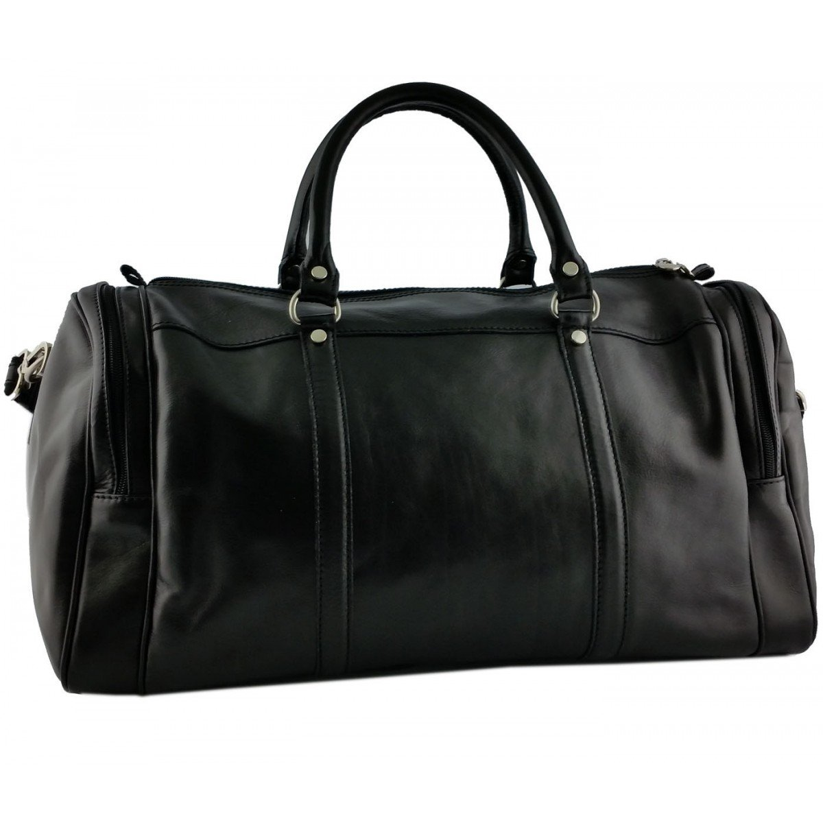 Made In Italy Leather Travel Bag Color Black - Travel Bag B014T6HHG0