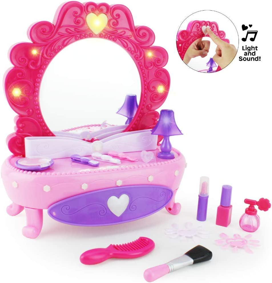 Boley Fashion Mirror - 38 Piece Play Set with Pretend Makeup for Girls, Vanity Table with Light-Up Musical Mirror, Fake Cosmetics Kit, Hair Accessories, and More! for Little Kids and Toddlers