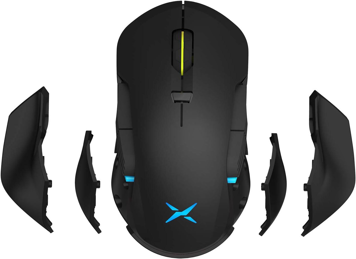 Ratón Gaming inalámbrico/cableado, DELUX Ratón para juegos de PC, 16000DPI, 16.8 millones RGB Color Backlit, Peso y equilibrio ajustables, ambas manos ratón, controles personalizados