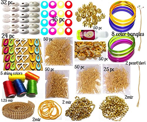GOELX Silk Thread Jewellery Making Kit, 50 Pair Jhumka Earring Base, Materials, , All Items Set With Silk Thread (17 Items) Thread Earrings Jewelry