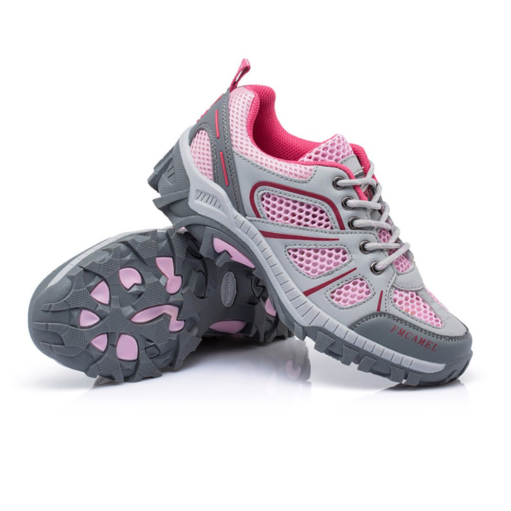 Bessur Men Women Outdoor Hiking Sheos Mixed Color Breathable Mesh Anti-Slippery Climbing Shoes Pink