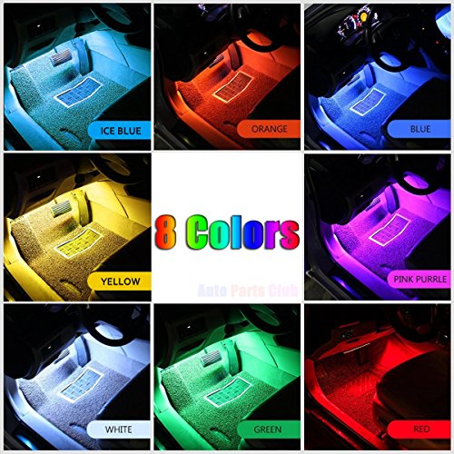 Car LED Strip Light, Auto Parts Club 4pcs 48 LED DC 12V Multicolor Music Car Interior Lights LED Under Dash Lighting Atmosphere Neon Lights Kit with Sound Active Function and Wireless Remote Control by Auto Parts Club (Image #6)
