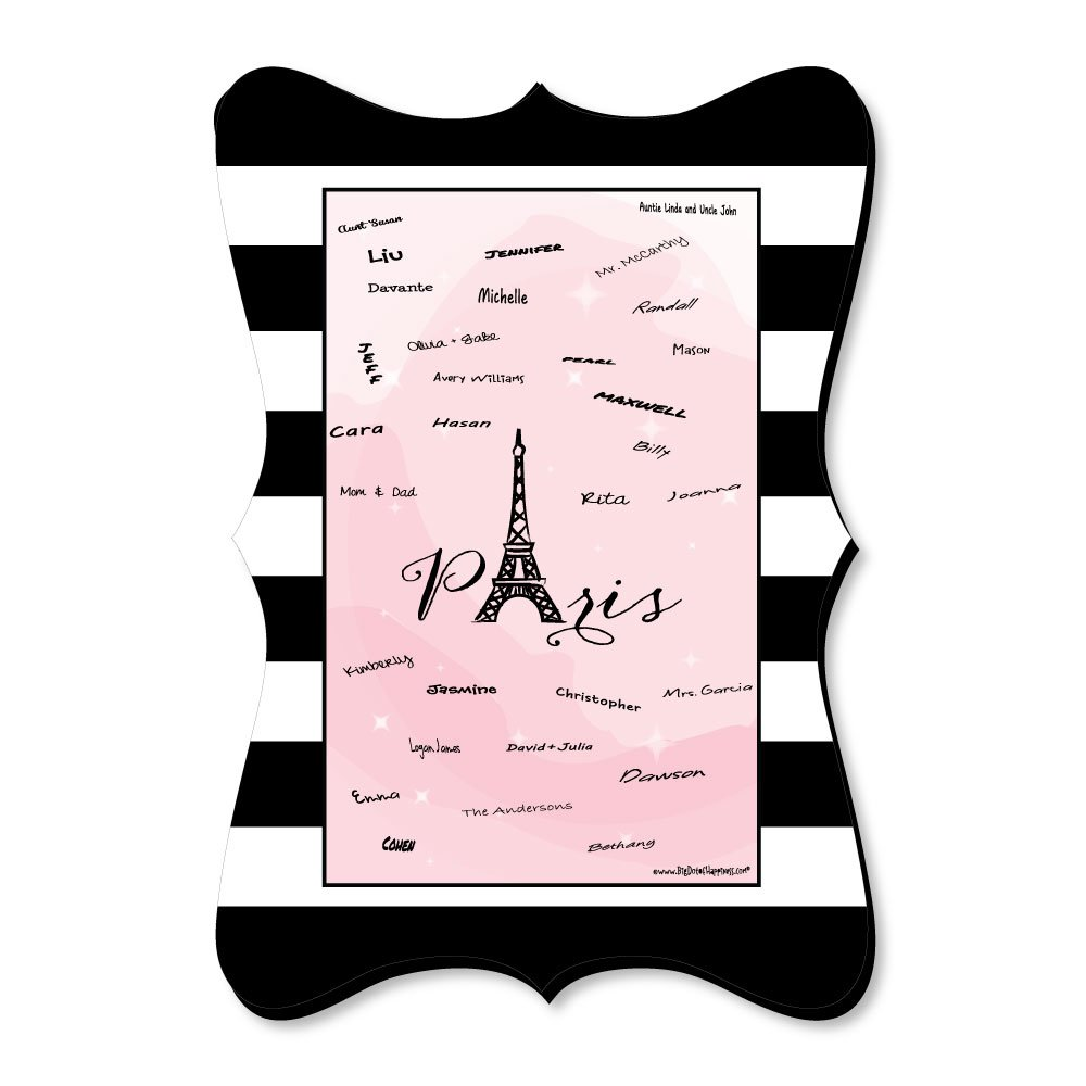 Paris, Ooh La La - Unique Alternative Guest Book - Paris Themed Baby Shower or Birthday Party Signature Mat by Big Dot of Happiness